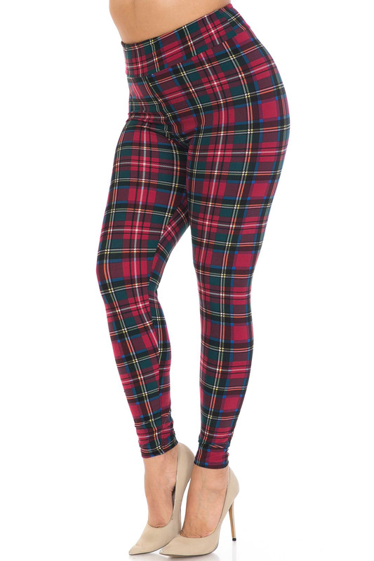 Buttery Soft Modish Plaid Plus Size High Waisted Leggings