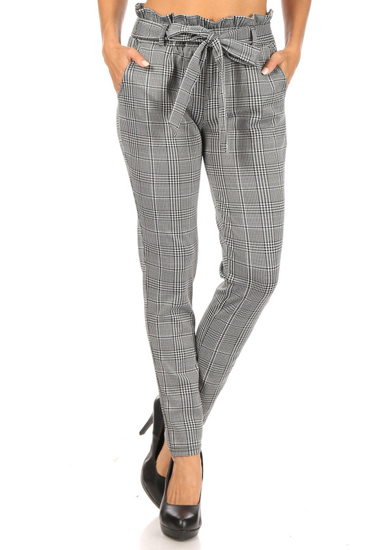 Houndstooth Plaid High Waisted Paper Bag Tie Front Pants