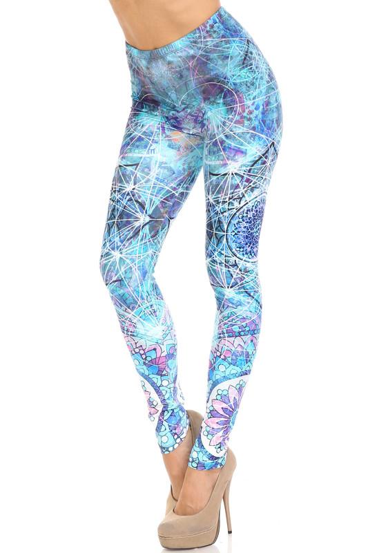 Creamy Soft Cyan Mandala Plus Size Leggings - USA Fashion™