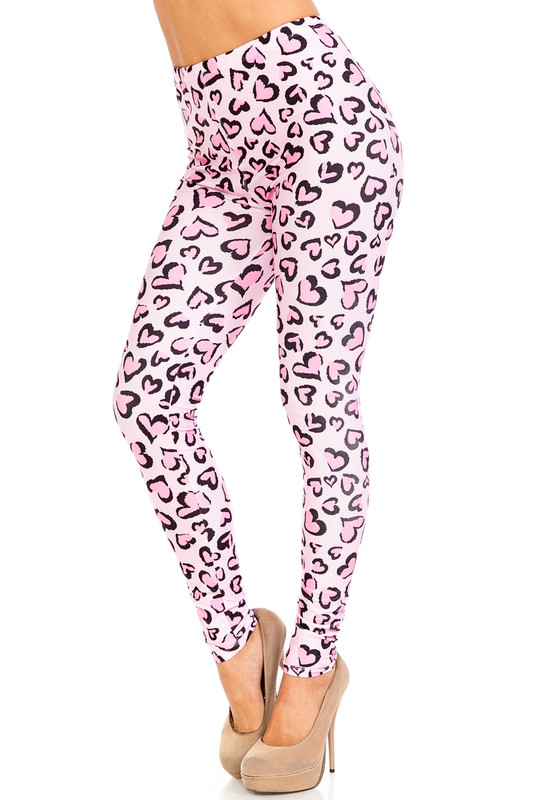 Creamy Soft Pink Heart Leopard Plus Size Leggings - USA Fashion™