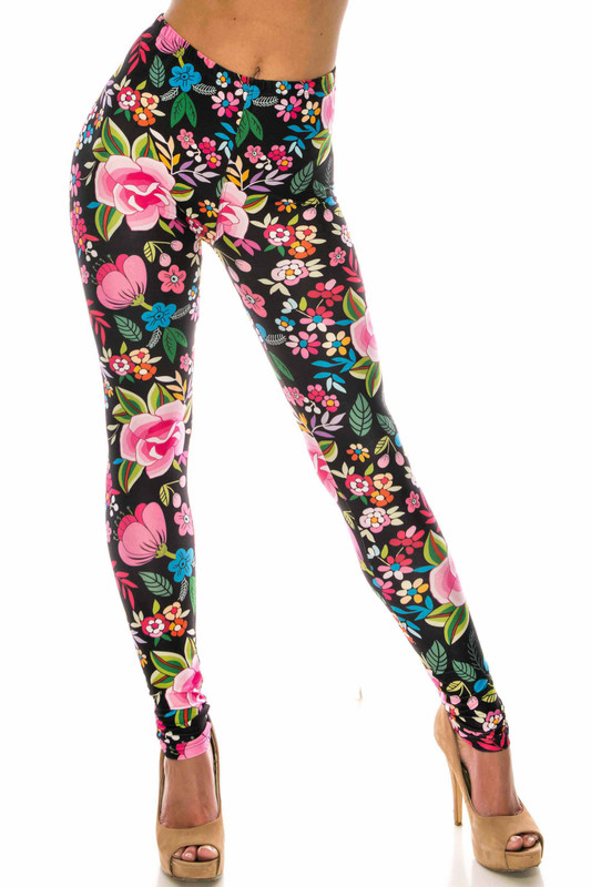 Creamy Soft Floral Oasis Extra Plus Size Leggings - 3X-5X - USA Fashion™