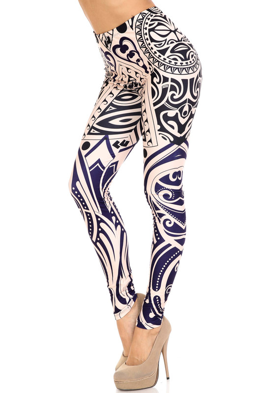 Left side right knee bent view of Creamy Soft Valhalla Plus Size Leggings - USA Fashion™ with an amazing bold navy and black on white design inspired by ancient art.