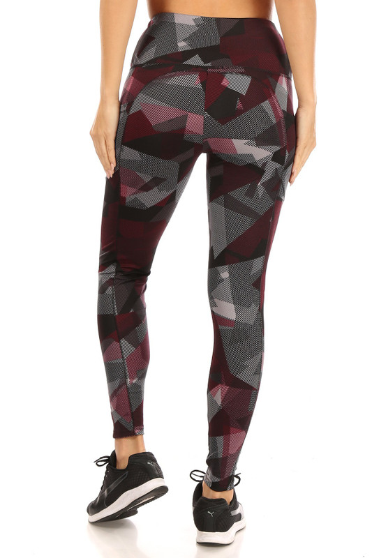 Back side of High Waisted Red Geo Sports Leggings with Side Pockets