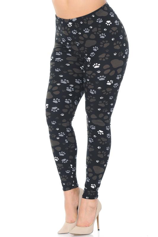 45 degree image of Creamy Soft Muddy Paw Print Extra Plus Size Leggings - 3X-5X - USA Fashion™ with an easy to style brown, gray, and white design.