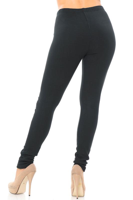 Rear view of Creamy Soft Fleece Lined Plus Size Leggings - USA Fashion™