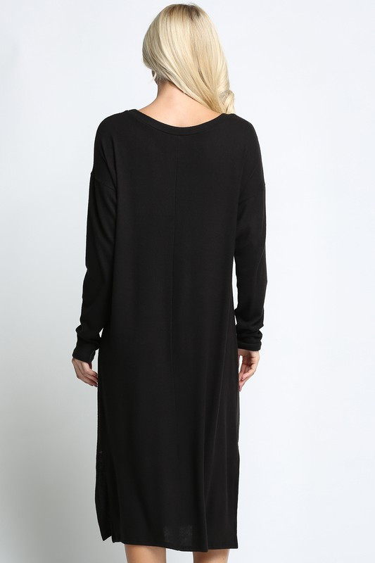 Black Long Sleeve Side Slit Midi Length Plus Size Sweater Dress