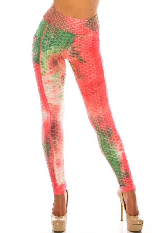 Premium Coral Olive Tie Dye Scrunch Butt Workout Leggings with Side Pockets