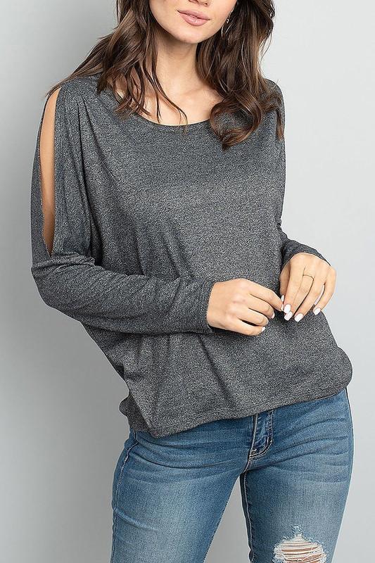 Split Shoulder Marled Long Sleeve Top