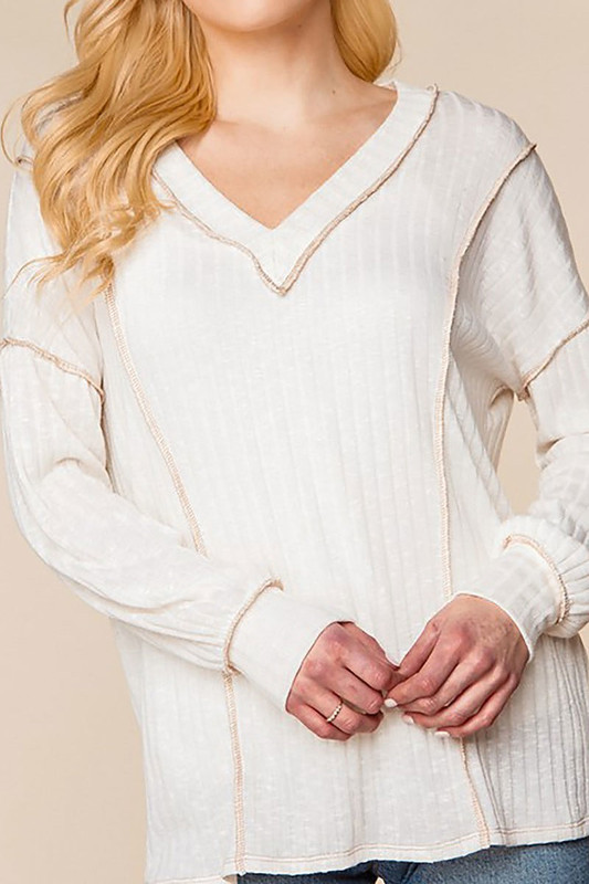 Long Sleeve Contrast Outside Seam Rib Knit V-Neck Plus Size Top