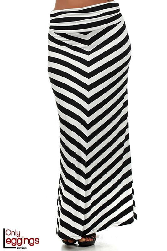 Wide Stripe Rayon Maxi Skirt - Plus Size