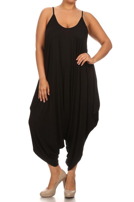 Black Bohemian Harem Jumpsuit - Plus Size