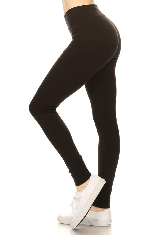 Side image of Black High Waisted Cotton Sport Leggings