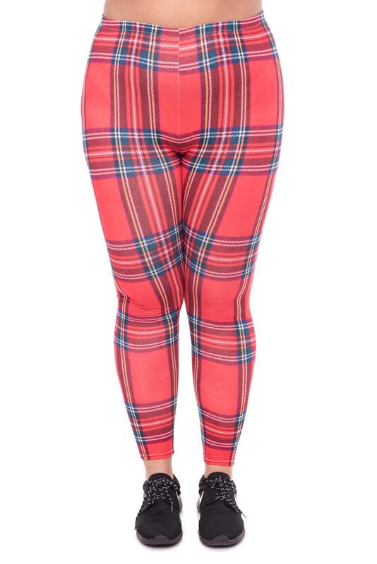 Everyday Red Plaid Leggings - Plus Size