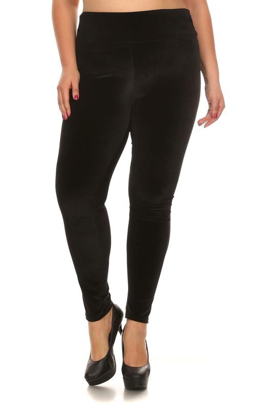 High Waisted Velvet Leggings - Plus Size