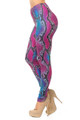 Double Brushed Pink and Blue Snakeskin Leggings