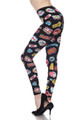 Brushed Sassy Stickers Plus Size Leggings - 3X - 5X