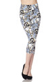 Brushed Charcoal Rose Sugar Skull Capris
