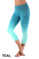Teal Ombre Fusion Workout Plus Size Capris