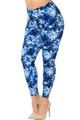 Brushed Summer Blue Tie Dye Plus Size Leggings
