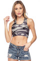 Brushed Charcoal Camouflage Women's Bra Top