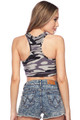 Brushed Charcoal Camouflage Women's Bra Top Back