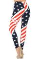 Brushed Swirling USA Flag Plus Size Leggings