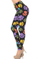 Soft Brushed Colorful Paw Print Leggings - USA Fashion
