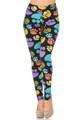 Soft Brushed Colorful Paw Print High Waisted Plus Size Leggings - USA Fashion