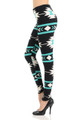 Soft Brushed Mint on Black Azteca Tribal Leggings