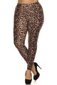 Front side image of Soft Brushed Feral Cheetah Plus Size Leggings