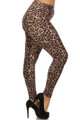 Right side leg image of Soft Brushed Feral Cheetah Plus Size Leggings