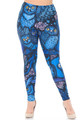 Creamy Soft Blue Owl Collage Plus Size Leggings - USA Fashion™