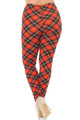 Brushed Classic Red Plaid Extra Plus Size Leggings - 3X-5X
