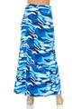 Brushed Blue Camouflage Maxi Skirt