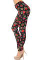 Brushed Jeweled Hearts Extra Plus Size Leggings - 3X-5X