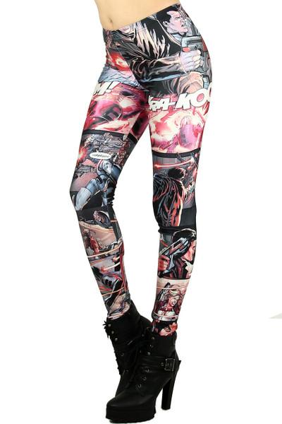7cf10d53520fe Superhero Cartoon Leggings | OnlyLeggings.com - Women's Legging Superstore