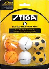 STIGA 1* Sport Motif Balls pack of 6 Ping Pong Depot Table Tennis Equipment