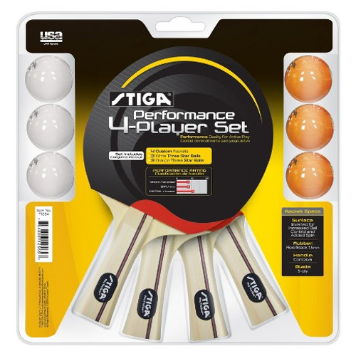 STIGA Performance Four Player Racket Set Ping Pong Depot Table Tennis Equipment