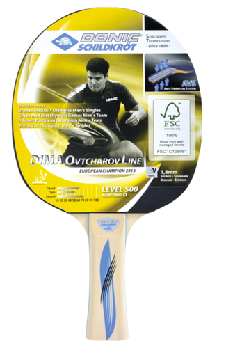 Donic-Schildkröt Ovtcharov 500 FSC Racket Ping Pong Depot Table Tennis Equipment