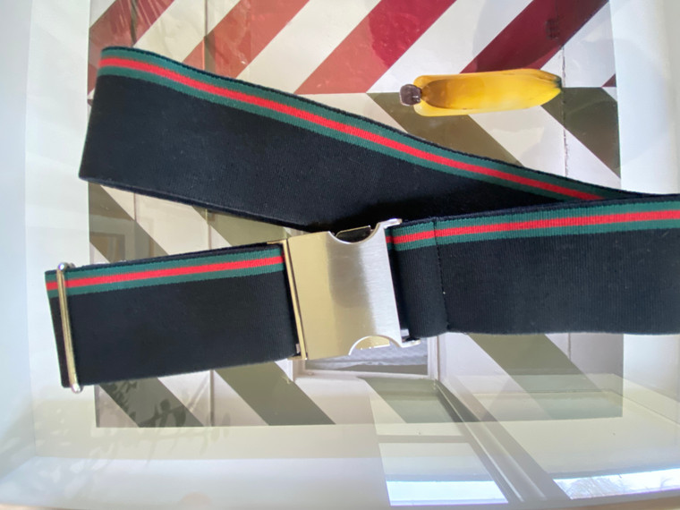 Black with red and green stripe