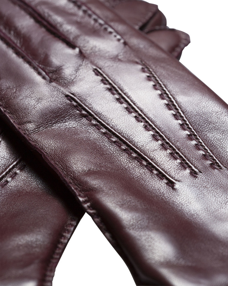 Bruno Carlo 46bc Lambskin Gloves in Bordeaux with Bordeaux Stitching