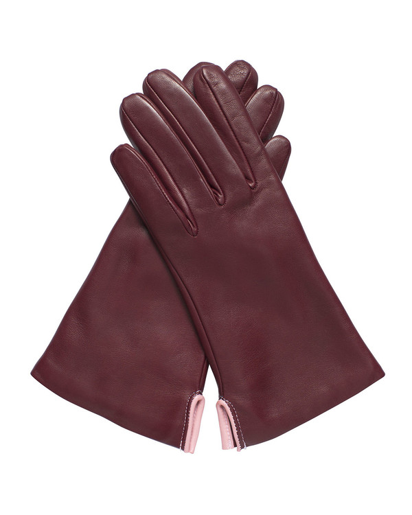 Bruno Carlo 32bc Lambskin Gloves in Bordeaux with Pink Piping Detail