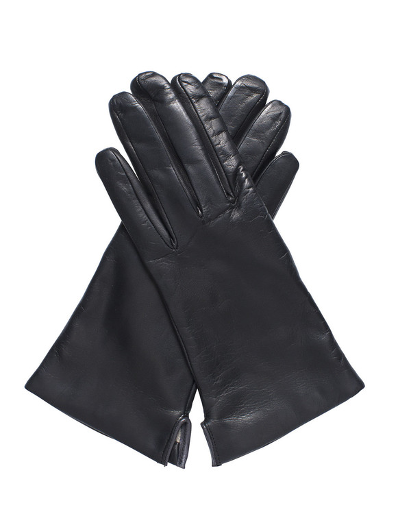 Bruno Carlo 32bc Lambskin Gloves in Black with Grey Piping