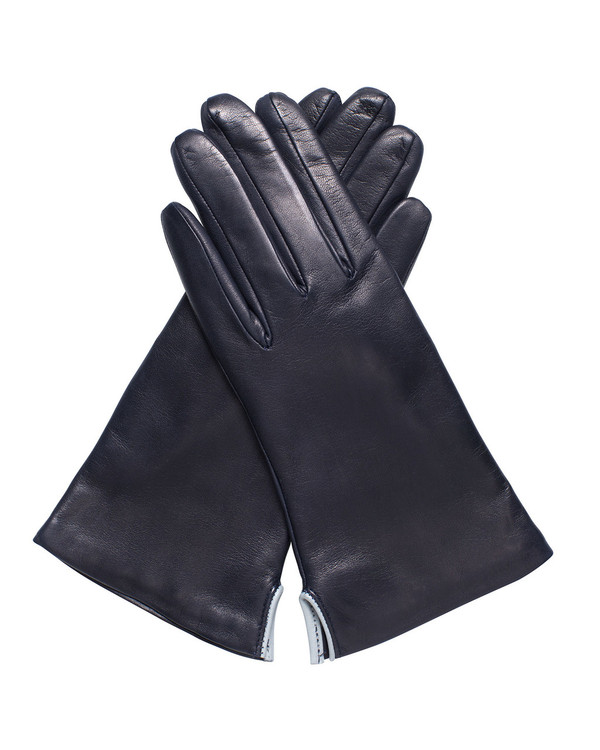 Bruno Carlo 32bc Lambskin Gloves in Navy with Grey Piping