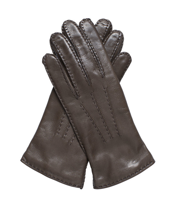 Bruno Carlo 46bc Lambskin Gloves in Taupe with Havana Stitching