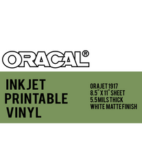 Oracal Inkjet Printable Permanent adhesive Vinyl By The 8.5 x 11 inch Sheet