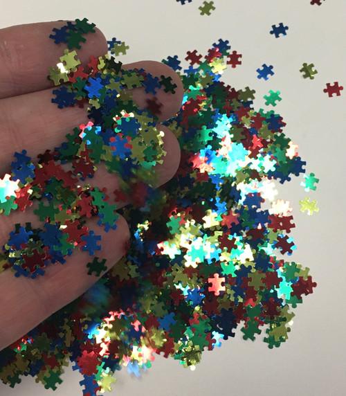 Autism Puzzle Piece Glitter Shape