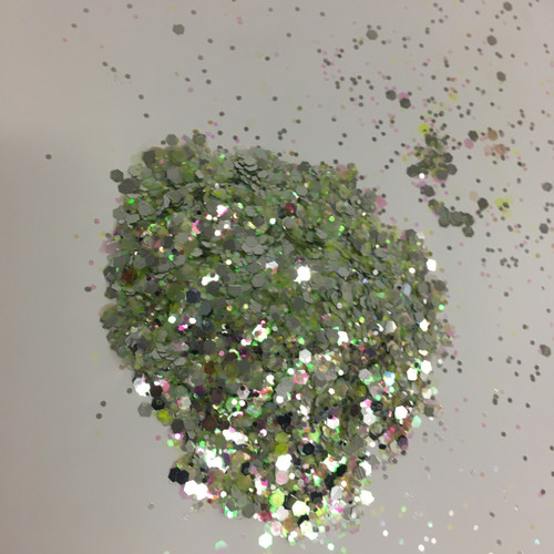 Green Silver - Glitter - Chunky Mix