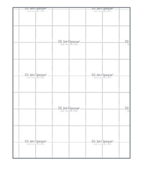 """3G JET OPAQUE® Heat Transfer Paper 8.5""""x 11"""" sheet (Dark Fabrics )- 10 PACK"""