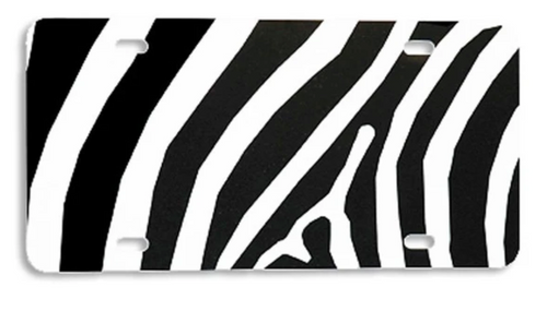 Zebra Black LICENSE PLATE